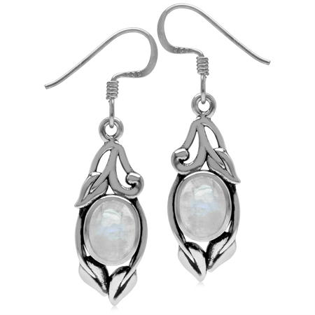 8x6MM Natural Oval Shape Moonstone 925 Sterling Silver Leaf Vintage Inspired Hook Earrings