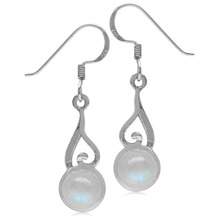 7MM Natural Round Shape Moonstone 925 Sterling Silver Swirl & Spiral Style Dangle Hook Earrings