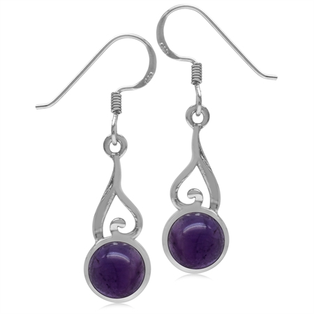 7MM Round Shape Cabochon Purple Amethyst 925 Sterling Silver Swirl & Spiral Dangle Hook Earrings