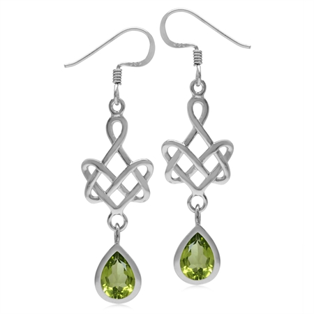 2.3ct. 8x6MM Natural Pear Shape Peridot 925 Sterling Silver Celtic Heart Knot Dangle Hook Earrings