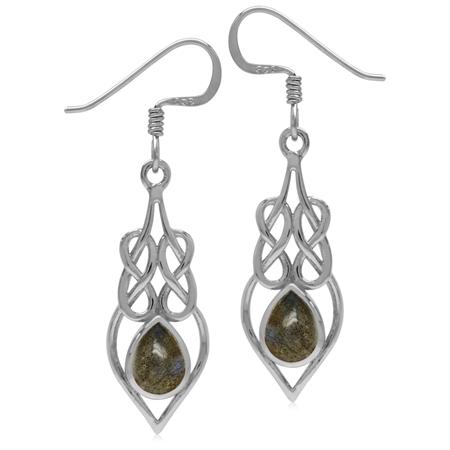 7x5MM Labradorite 925 Sterling Silver Celtic Knot/Weave Drop Dangle Earrings