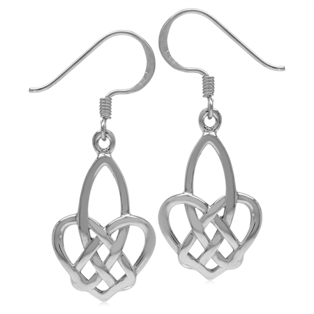 White Gold Plated 925 Sterling Silver Celtic Heart Knot Dangle Hook Earrings-Light Weight