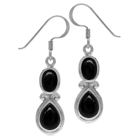 Genuine Black Onyx White Gold Plated 925 Sterling Silver Victorian Swirl Style Dangle Hook Earrings