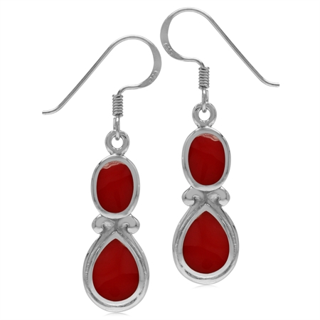 Created Red Coral White Gold Plated 925 Sterling Silver Victorian Swirl Style Dangle Hook Earrings