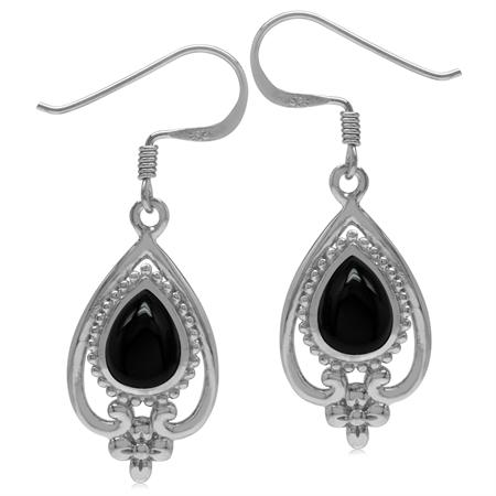 8x6MM Genuine Pear Shape Black Onyx 925 Sterling Silver Victorian Style Flower Drop Dangle Earrings