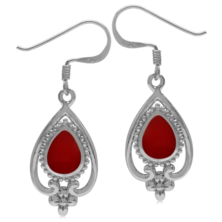 8x6MM Created Pear Shape Red Coral 925 Sterling Silver Victorian Style Flower Drop Dangle Earrings