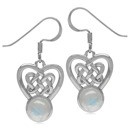 7MM Natural Round Shape Moonstone 925 Sterling Silver Celtic Heart Knot Dangle Hook Earrings