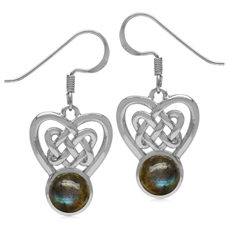 7MM Round Shape Labradorite 925 Sterling Silver Celtic Heart Knot Dangle Hook Earrings