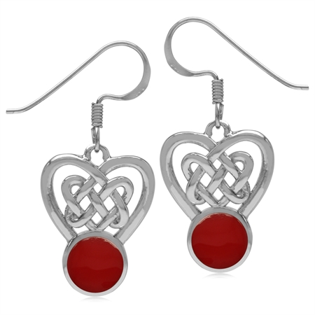 7MM Created Round Shape Red Coral Inlay 925 Sterling Silver Celtic Heart Knot Dangle Hook Earrings