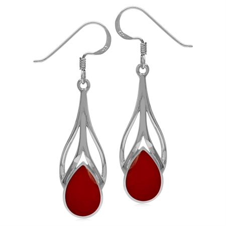 12x8MM Created Pear Shape Red Coral Inlay 925 Sterling Silver Drop Dangle Hook Earrings
