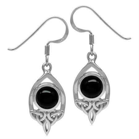 7MM Genuine Round Shape Black Onyx 925 Sterling Silver Triquetra Celtic Knot Dangle Hook Earrings