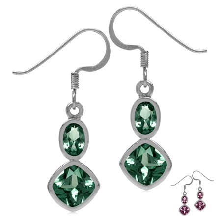 Simulated Color Change Alexandrite 925 Sterling Silver Geometric Dangle Hook Earrings