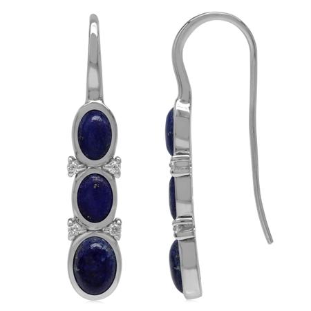 3-Stone Genuine Oval Shape Blue Lapis & White CZ 925 Sterling Silver Hook Earrings