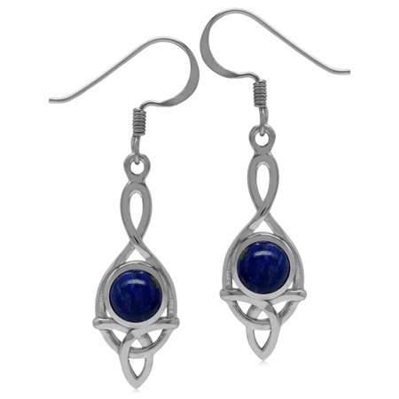 6MM Genuine Round Shape Blue Lapis 925 Sterling Silver Triquetra Celtic Knot Dangle Hook Earrings