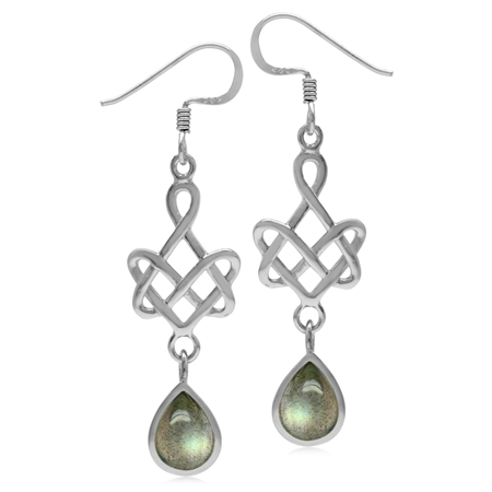 8x6MM Pear Shape Labradorite 925 Sterling Silver Celtic Heart Knot Dangle Hook Earrings
