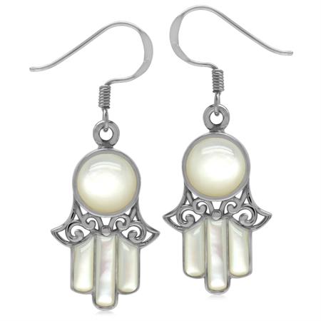 White Mother Of Pearl 925 Sterling Silver Filigree Hamsa Hand Dangle Hook Earrings