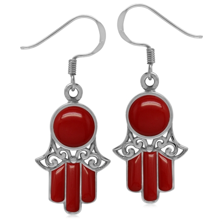 Created Red Coral White Gold Plated 925 Sterling Silver Filigree Hamsa Hand Dangle Hook Earrings