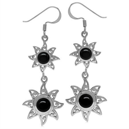 Genuine Round Shape Black Onyx 925 Sterling Silver Sun Ray Inspired Dangle Hook Earrings