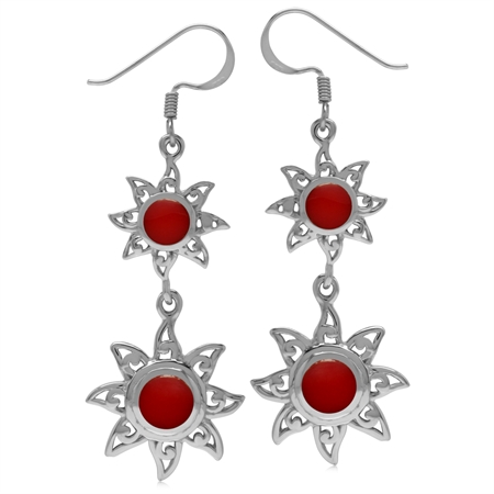 Created Round Shape Red Coral 925 Sterling Silver Sun Ray Inspired Dangle Hook Earrings