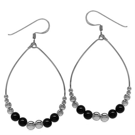 Graduated Created Black Onyx w/Bead Balls 925 Sterling Silver Oval Hoop Dangle Earrings
