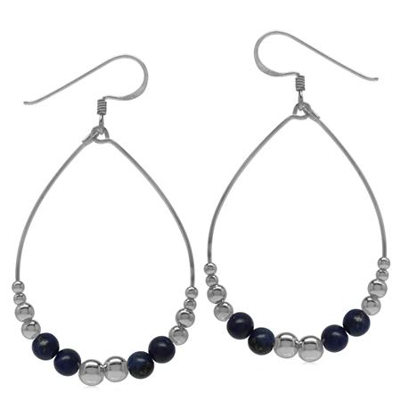Graduated Created Blue Lapis w/Bead Balls 925 Sterling Silver Oval Hoop Dangle Earrings