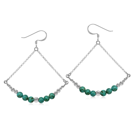 Graduated Created Green Turquoise w/Bead Balls 925 Sterling Silver Chain Dangle Earrings