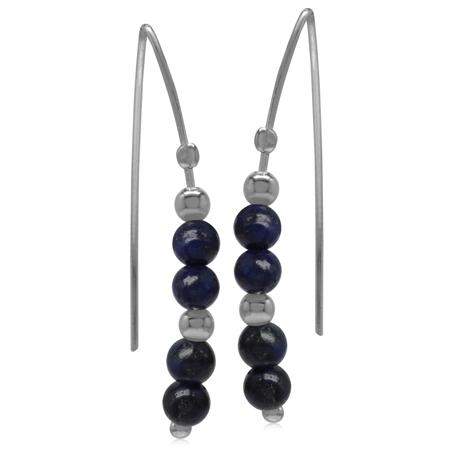 4MM Created Blue Lapis Sphere Ball 925 Sterling Silver Threader Earrings