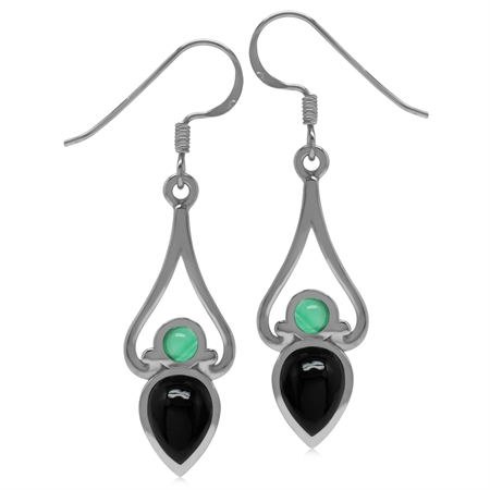 8x6MM Pear Genuine Onyx&Emerald Green Agate 925 Sterling Silver Victorian Swirl Style Drop Earrings