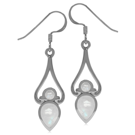 8x6MM Natural Pear Shape Moonstone 925 Sterling Silver Victorian Swirl Style Drop Dangle Earrings