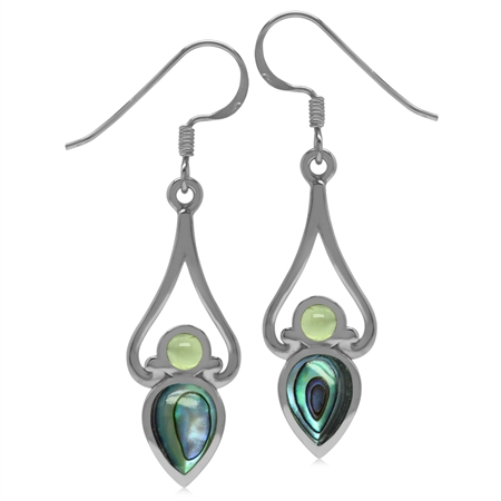 8x6MM Pear Abalone/Paua Shell & Cabochon Peridot 925 Sterling Silver Victorian Swirl Style Earrings