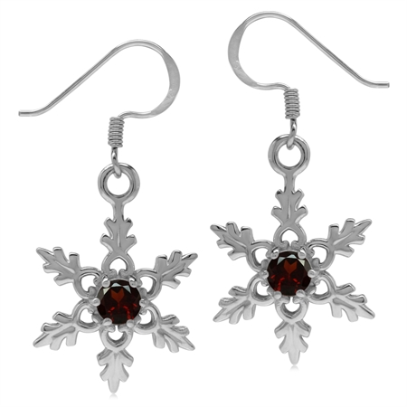 Natural Garnet 925 Sterling Silver Snowflake Dangle Hook Earrings