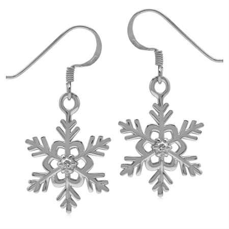 Extra Petite White CZ 925 Sterling Silver Snowflake Dangle Hook Earrings