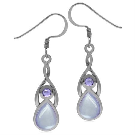 9x7MM Pear Purple Mother Of Pearl & Amethyst CZ 925 Sterling Silver Casual Drop Dangle Hook Earrings