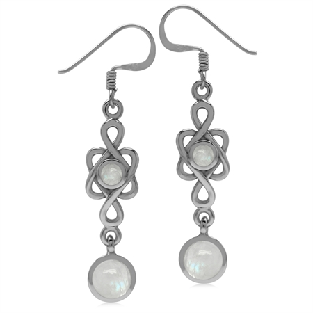 6MM Natural Round Shape Moonstone 925 Sterling Silver Celtic Knot/Weave Dangle Hook Earrings