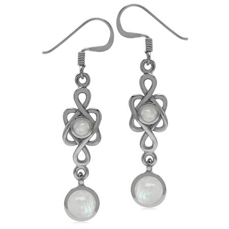 6MM Natural Round Shape Moonstone 925 Sterling Silver Celtic Knot/Weave Dangle Hook Earrings