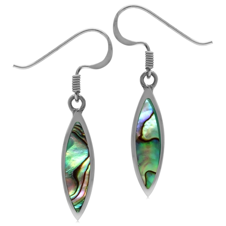 Abalone/Paua Shell Inlay 925 Sterling Silver Drop Dangle Hook Earrings