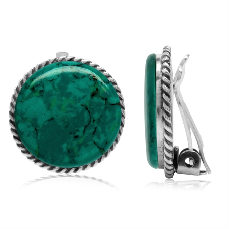 Created Malachite 925 Sterling Silver Round Disc Shape Clip-on Earrings