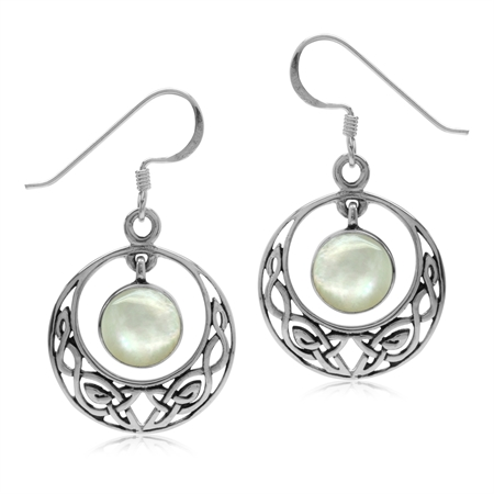 Dangle White Mother Of Pearl 925 Sterling Silver Celtic Knot Circle Hook Earrings