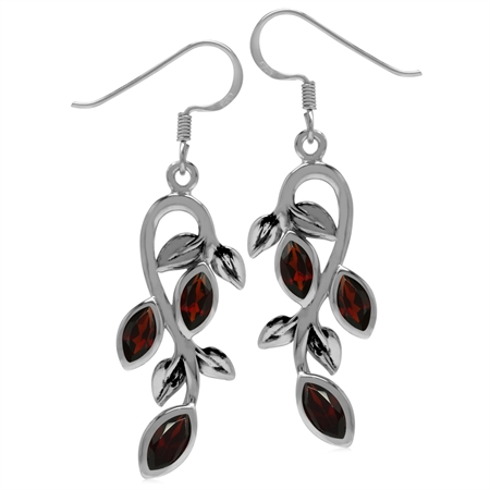 2.28ct. Natural Marquise Shape Garnet 925 Sterling Silver Leaf Vintage Inspired Dangle Earrings