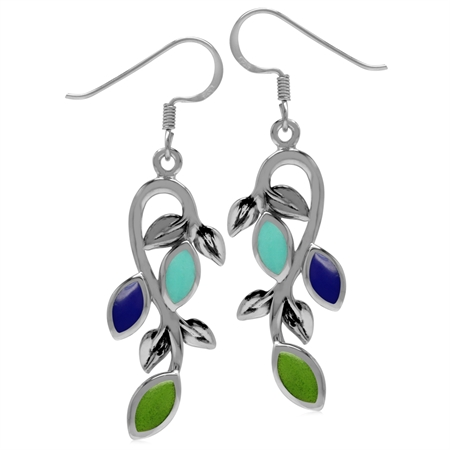 Created Green Gaspeite, Lapis & Turquoise 925 Sterling Silver Leaf Vintage Inspired Dangle Earrings