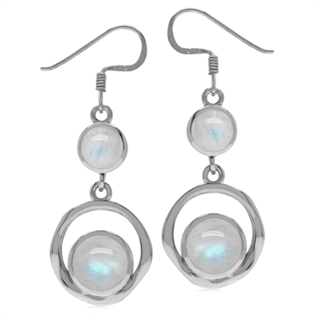 Natural Round Shape Moonstone 925 Sterling Silver Textured Hoop Dangle Earrings