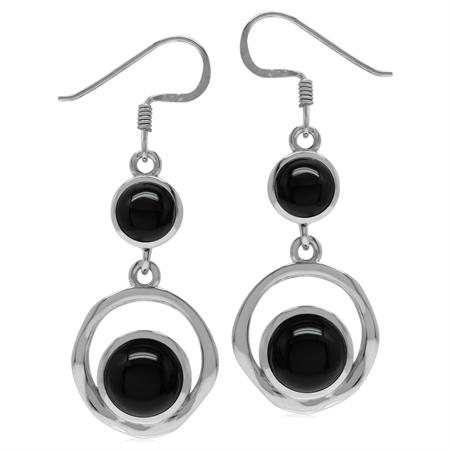 Genuine Round Shape Black Onyx 925 Sterling Silver Textured Hoop Dangle Earrings