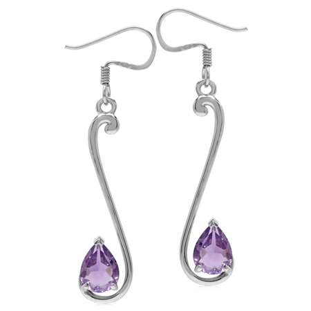 1.94ct. 8x6MM Natural Pear Shape Amethyst 925 Sterling Silver Musical Note Dangle Hook Earrings