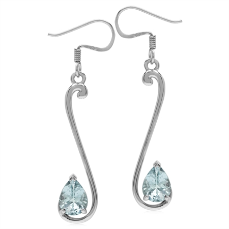 1.76ct. 8x6MM Genuine Pear Shape Blue Aquamarine 925 Sterling Silver Musical Note Dangle Earrings
