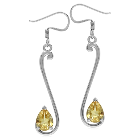 2ct. 8x6MM Natural Pear Shape Citrine 925 Sterling Silver Musical Note Dangle Hook Earrings