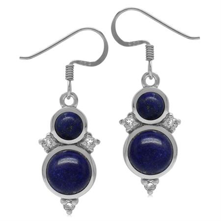 Genuine Round Shape Blue Lapis & White Topaz 925 Sterling Silver Dangle Hook Earrings