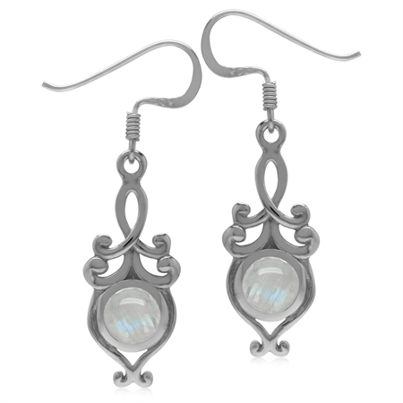 6MM Natural Round Shape Moonstone 925 Sterling Silver Victorian Swirl Style Dangle Hook Earrings