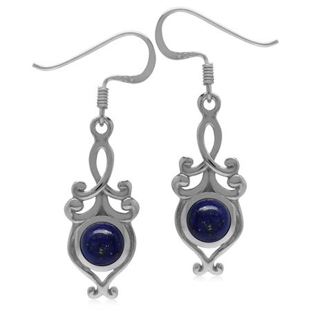 6MM Genuine Round Shape Blue Lapis 925 Sterling Silver Victorian Swirl Style Dangle Hook Earrings