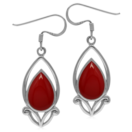 12x8MM Created Pear Shape Red Coral 925 Sterling Silver Victorian Style Drop Dangle Hook Earrings