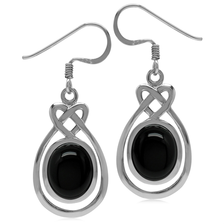 10x8MM Genuine Oval Shape Black Onyx 925 Sterling Silver Celtic Heart Knot Dangle Hook Earrings